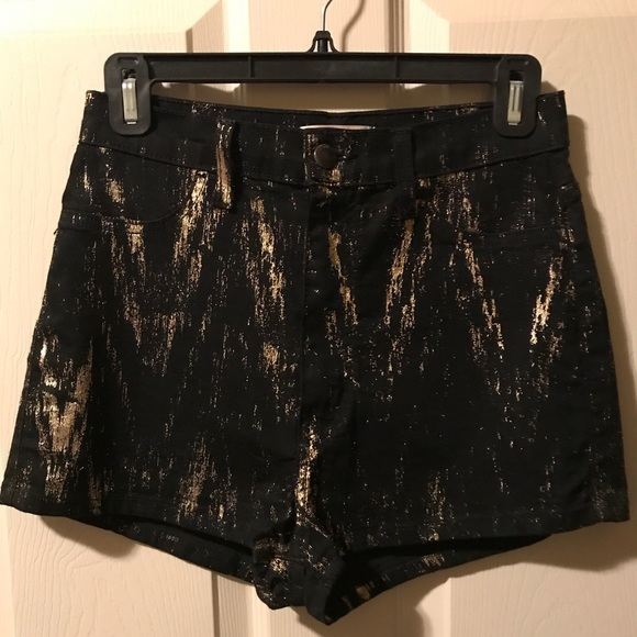 Vibrant Pants - Black & Gold high waisted shorts